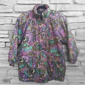 Vintage 90's Abstract Bright Puffy Winter Jacket